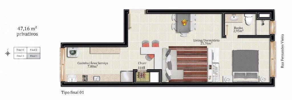 Loft de 1 dormitório à venda em Bom Fim, Porto Alegre - RS